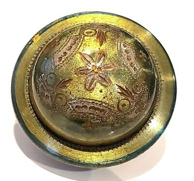 """Antique Button…Old, Unusual, & Very Cool High Domed """"Lime"""" Green Tinted Metal 3"""