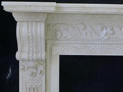 Beautiful Hand Carved Marble European Design Marble Figural Fireplace Mantel Z1 4