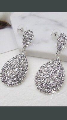 Silver Tone Teardrop Oval Pear Shape Diamonte Diamante Long Drop Earrings NEW!