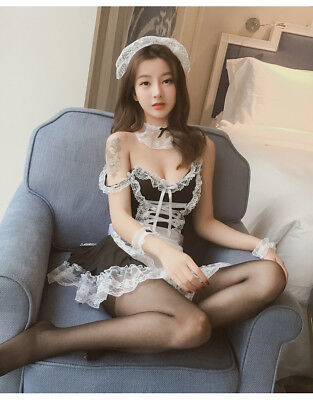 Set Costume Completo Cameriera Maid Serva Sexy Cosplay Lingerie Calze Velate Sex 2