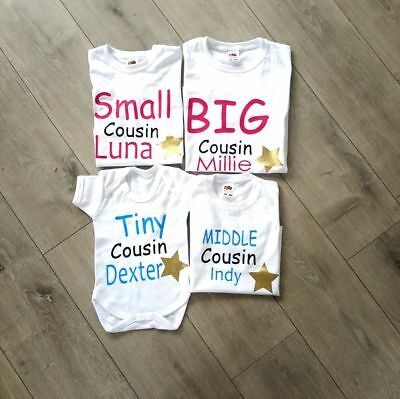 personalised cousin family name t-shirts big little tiny babygrow tops middle 4
