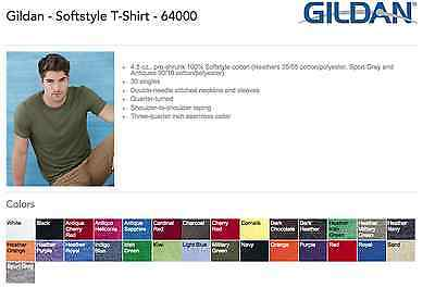 50 Blank Gildan SoftStyle T-Shirt 64000 Bulk Lot ok to mix S-XL Colors Wholesale