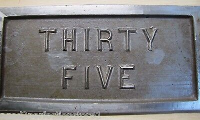 Old Double Lions Head Architectural Building Number 'Thirty Five' Marker Sign 4