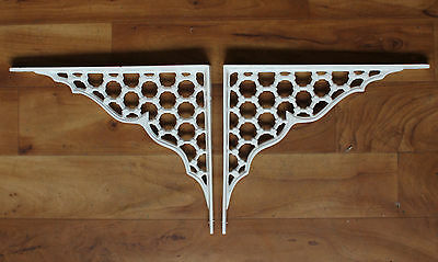 "Pair of 8"" x 10"" LARGE CAST IRON SHELF CISTERN BRACKETS VICTORIAN ANTIQUE WHITE"