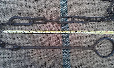 Antique 19Th Century Hearth Fireplace Cooking Chain Trammel Hook 5