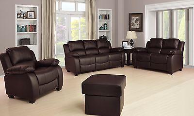 New Valerie Luxury Leather Sofa Suite Black Brown Cream Set Three Piece Pouffe 2