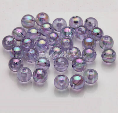 50/100Pcs Acrylic Round Plated AB Loose Spacer Beads Crafts Jewelry Findings DIY 9