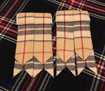 New Kilt Sock Flashes Camel Thomson Tartan/Kilt Hose Flashes/kilt Flashes 2