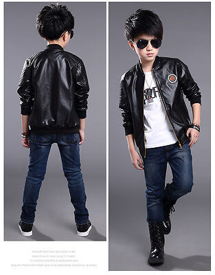 ba62d2fb3ae4 KIDS FAUX LEATHER Bike Jacket Boy Girl Leather Jacket Size 3-16 ...