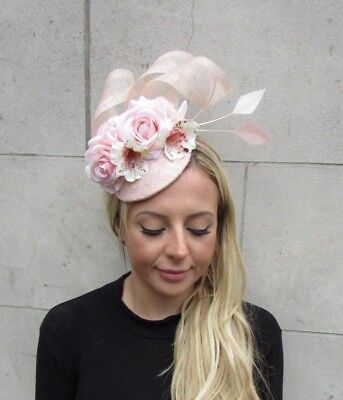 Light Blush Pink Nude Rose Flower Feather Hat Hair Fascinator Races Wedding 6307 2