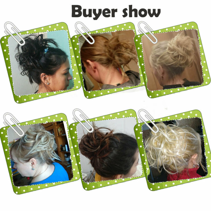 Large Thick Messy Bun Hair Scrunchie Updo Cover Curly Hair Extensions as Human 11
