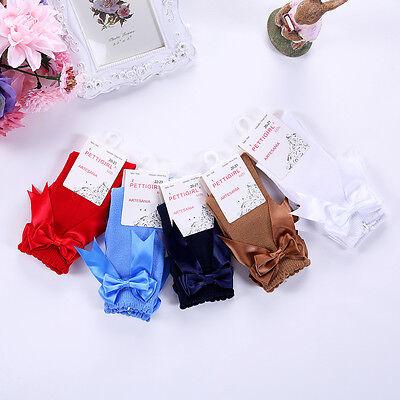 Children Girls Knee High Socks Toddler Kids Party School Bow Socks 5 Colors 4