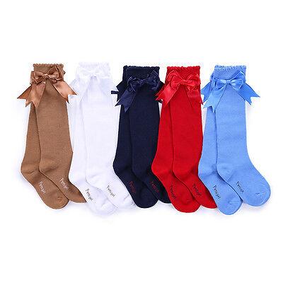 Children Girls Knee High Socks Toddler Kids Party School Bow Socks 5 Colors 2