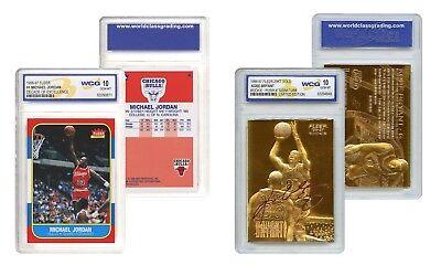 KOBE Bryant Gold & Michael JORDAN Decade Fleer Rookie Cards Set - Graded Gem 10 2