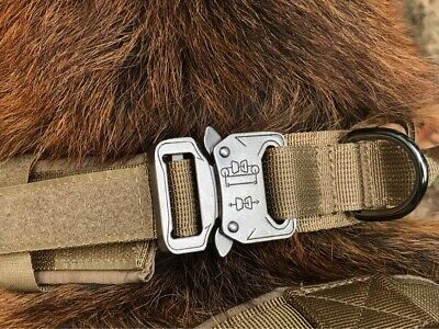 HEAVY DUTY K9 Military Dog Collar Leash Handle Medium Large metal Buckle 9