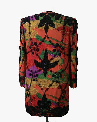 """Jasdee Vintage Jacket 32""""Length HandWork Bead & Sequins HandPrint On Silk #5058 2"""
