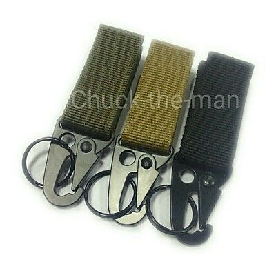 ... Tactical Military Belt Carabiner Key Holder Bag Hook Webbing Buckle Strap Clip 2