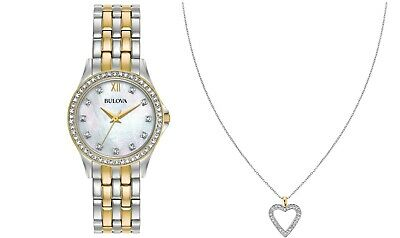 Bulova Women's Quartz Two-Tone 28mm Watch and Crystal Pendant Set 98X113 2