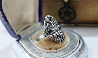 ART DECO vintage STERLING Silver MARCASITE Ring  7 1/2 7