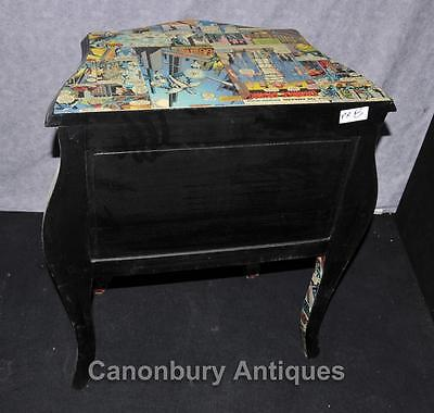 Pair Funky Comic Print Chests of Drawers Deco Commode Bombe 12 • £950.00