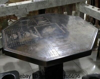 Chinese Black Stone Carved jade Zong Yu Cong Jade Cong Stool Table Four Chairs A 3