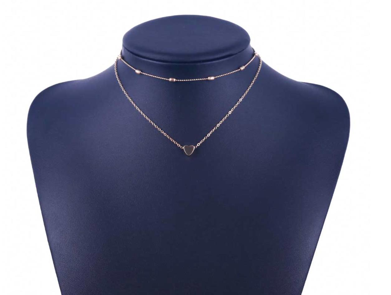 ca941796c888 1 von 4Kostenloser Versand Damen doppel Kette Halskette silber gold Herz 2er  Set Blogger kurz Statement neu