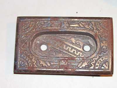 Antique Victorian Door Knob Key Plate Bronzed Cast Iron Fancy Eastlake Hardware 3