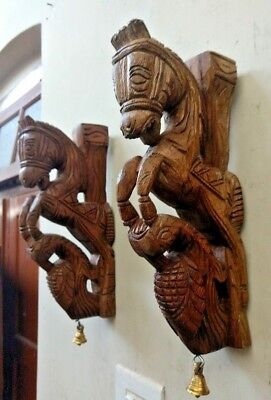 Pony Horse Wall Corbel Pair Wooden Sculpture Statue Peacock Bracket Home Decor U 7