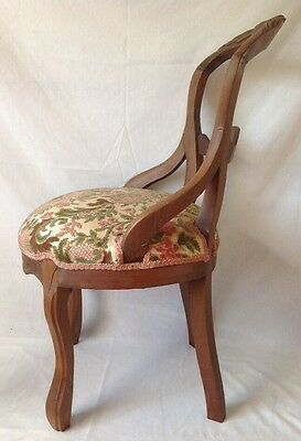 Antique Victorian Carved Balloon Back Chair Walnut w Chenille Upholstered Seat 8