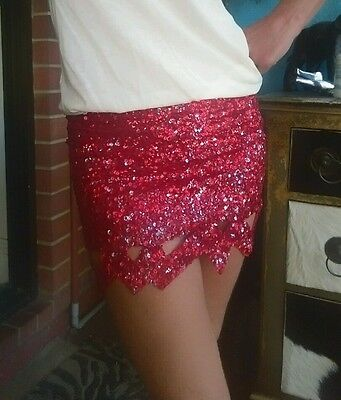 c0c21cf94c AJE CATARA RED Sequin Mini Skirt Sz 8 - £93.08 | PicClick UK