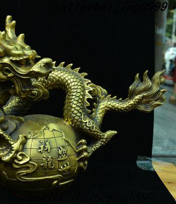 2 Money Brass Chinese Zodiac Animal Sculpture Feng Shui Dragon Horse Statue