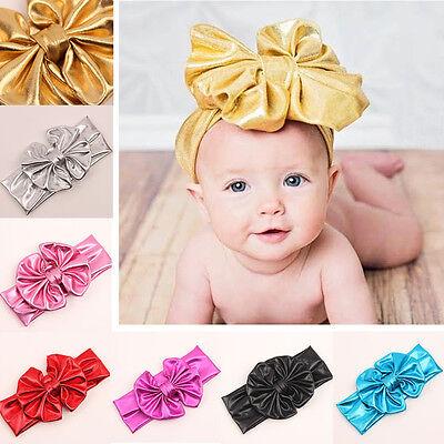 Gold Baby Girls Kids Toddler Bow Hairband Headband Stretch Turban Knot Head Wrap 4