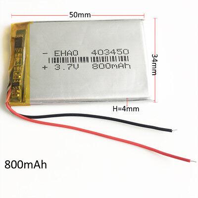 3.7V 800mAh lipo Polymer rechargeable Battery 403450 For Mp3 GPS Speaker DVD GPS 2
