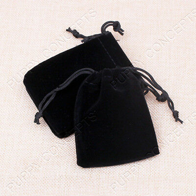 Black Velvet Pouch Drawstring Bags Wedding Favours Gift Party Jewellery Packing 6