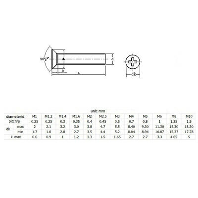 M4 Countersunk Phillips Machine Screws 4Mm-100Mm A2 Stainless Steel All Sizes