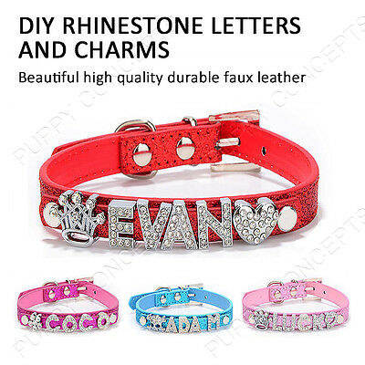 DIY Personalised Leather Collar Pet Dog Cat Puppy Kitten Bling Gloss Name Charm 2