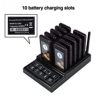 Wireless Paging Calling Keypad System 10Pcs Guest Coaster Pagers For Restaurant 6