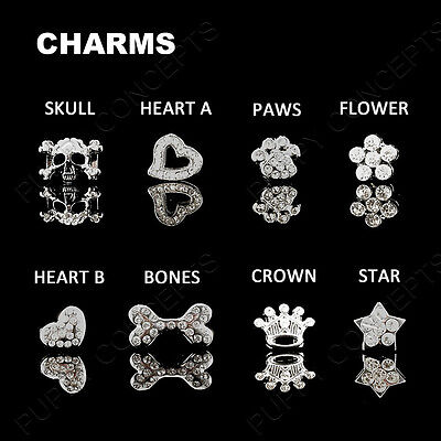 DIY Personalised Leather Collar Pet Dog Cat Puppy Kitten Bling Gloss Name Charm 3