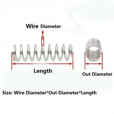 Stainless Steel Compression Compressed Spring Wire Dia.2/2.2mm L: 60/70/80-100mm 3
