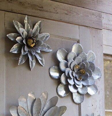 5 Galvanized Metal Flower Wall Art Sculptures Indoor Outdoor Decor Set Of 5