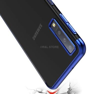 COVER per Samsung Galaxy A7 2018 CUSTODIA Tpu ORIGINALE ELECTROPLATING SLIM Case 2