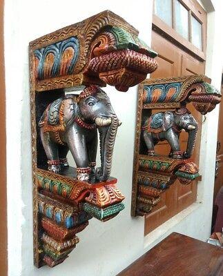 Elephant Wall Corbel Pair Handcarved Wooden Bracket Sculpture Estate Home Decor 5