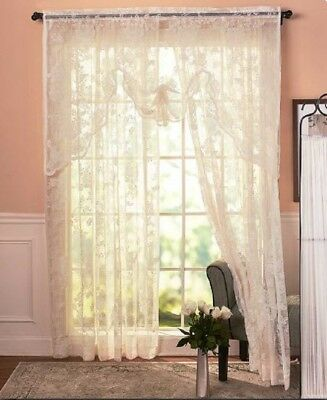 Vintage Lace Curtains Abbey Rose Swags or Panels Country Lace Window Treatments 4