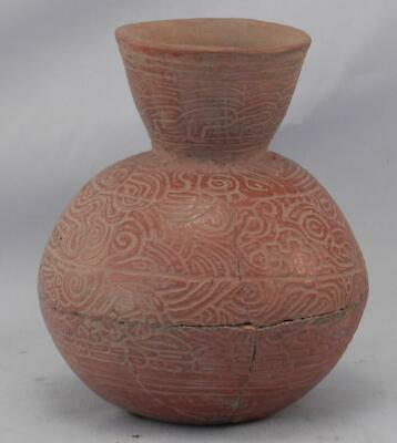 Antique Mayan Pre Columbian Pottery~Incised Red Vessel~Image of An Elephant! 4