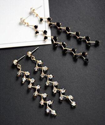 Long Tassel Crystal Hook Earrings Women Drop Dangle Ear Stud Wedding Party 5