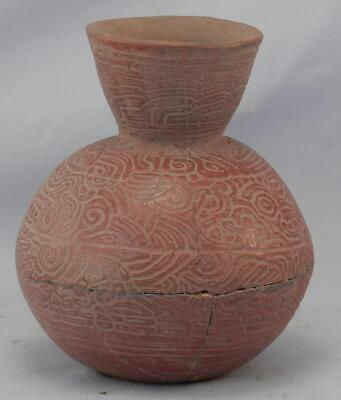 Antique Mayan Pre Columbian Pottery~Incised Red Vessel~Image of An Elephant! 3