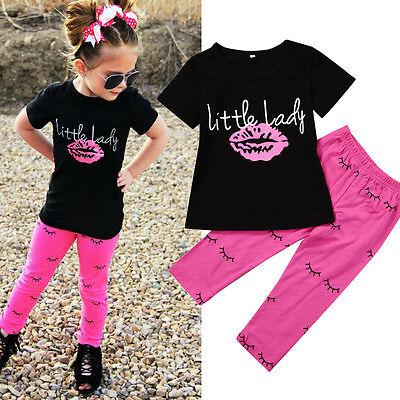 2 PZ Ragazze Bambine Piccolo Donna Outfit Vestiti T-Shirt+Pantaloni Lunghi Set 2