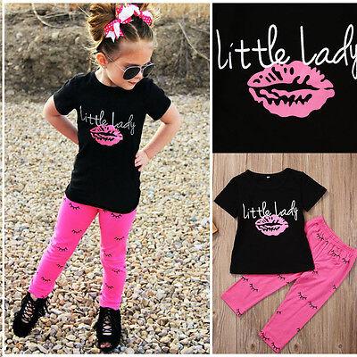 2 PZ Ragazze Bambine Piccolo Donna Outfit Vestiti T-Shirt+Pantaloni Lunghi Set 9