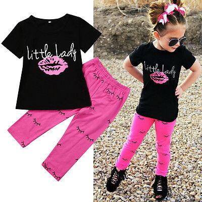 2 PZ Ragazze Bambine Piccolo Donna Outfit Vestiti T-Shirt+Pantaloni Lunghi Set 12