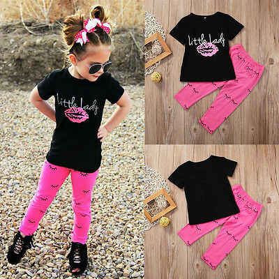 2 PZ Ragazze Bambine Piccolo Donna Outfit Vestiti T-Shirt+Pantaloni Lunghi Set 11
